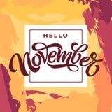 De typografie van Hello November op lichte grungeachtergrond Moderne borstelkalligrafie met dun vierkant kader Het vector van let vector illustratie