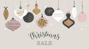 De typografie van het de bannermalplaatje van de Kerstmisverkoop met Kerstmisballen, voor verkoopvliegers, affiche, Webbanner en  royalty-vrije illustratie