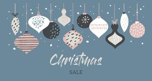 De typografie van het de bannermalplaatje van de Kerstmisverkoop met Kerstmisballen, voor verkoopvliegers, affiche, Webbanner en  stock illustratie
