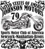 De typografie van het motorfietstoevoerkanaal, t-shirtgrafiek, vectoren Stock Afbeeldingen