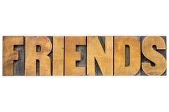 De typografie van het vriendenwoord Stock Afbeeldingen