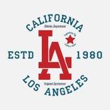 De typografie van Los Angeles, Californië voor ontwerpkleren Grafiek voor drukproduct, t-shirt, uitstekende sportkleding Vector Stock Foto