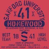 De typografie van Samford van de voetbal atletieksport, t-shirtgrafiek, vectoren Royalty-vrije Stock Foto's