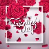 De typografieaffiche van de valentijnskaartendag met realistische rozen royalty-vrije stock foto's