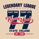 De typografieembleem van de sportslijtage, de grafiek van de t-shirtzegel Royalty-vrije Stock Foto