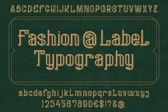 De Typografielettersoort van het manieretiket Geïsoleerd Engels alfabet Letters, getallen en sommige symbolen Royalty-vrije Stock Afbeelding