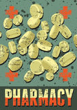 De typografische retro affiche van de grungeapotheek Vector illustratie Royalty-vrije Stock Afbeelding