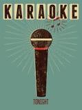 De typografische retro affiche van de grungekaraoke Vector illustratie Royalty-vrije Stock Afbeeldingen