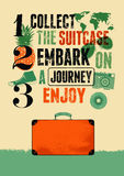 De typografische retro affiche van de grungereis met oude koffer Vector illustratie Royalty-vrije Stock Foto's