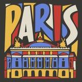 De typografische toeristische hand getrokken stad van Parijs Stock Foto's