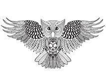 De uil van de adelaar Volwassen antistress kleurende pagina Royalty-vrije Stock Afbeelding