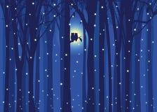 De uil van de de illustratieliefde van de winter in sneeuwend bos Royalty-vrije Stock Foto