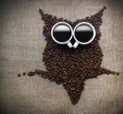 De uil van de koffiekern Royalty-vrije Stock Fotografie
