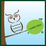 De uil van de valentijnskaart Stock Afbeelding