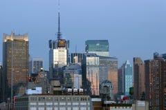 De uit het stadscentrum Gebouwen van Manhattan Stock Fotografie