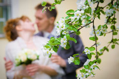 De uit-van-nadruk van de bruid en van de bruidegom Stock Afbeelding
