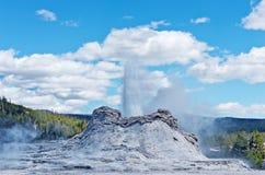 De uitbarsting van de kasteelgeiser in het Nationale Park van Yellowstone, de V.S. royalty-vrije stock afbeelding