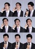 De uitdrukking die van de zakenman op cellulair spreekt royalty-vrije stock foto's
