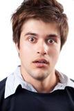 De uitdrukking van de verrassing en van de schok op mannelijk gezicht Royalty-vrije Stock Foto's