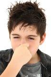 De Uitdrukking van het Gezicht van Stinky van de allergie Stock Fotografie