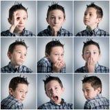 De uitdrukkingen van de jongen Royalty-vrije Stock Foto