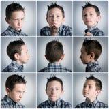De uitdrukkingen van de jongen Stock Afbeelding