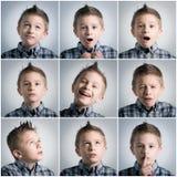 De uitdrukkingen van de jongen Stock Foto