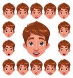 De Uitdrukkingen van de jongen met lip sync. stock illustratie