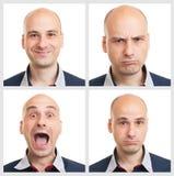 De uitdrukkingen van het jonge mensengezicht Stock Fotografie