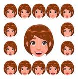 De uitdrukkingen van het meisje met lippensynchronisatie Royalty-vrije Stock Afbeelding