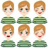 De Uitdrukkingen van het tienergezicht Stock Afbeelding