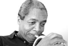 De uitdrukkingen van de jazzmusicus Stock Foto