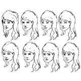 De uitdrukkingenschetsen van het meisjesgezicht Vector Stock Foto's
