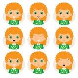 De uitdrukkingspictogrammen van vrouwenemoties Royalty-vrije Stock Fotografie
