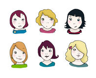 De uitdrukkingsreeks van meisjes Vector Illustratie