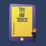 De Uiteinden en de Trucs van de handschrifttekst Concept die Suggesties betekenen om tot dingen gemakkelijkere Nuttige Adviezenop stock illustratie
