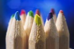 De uiteinden van het kleurenpotlood Stock Afbeeldingen