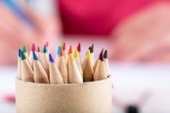 De uiteinden van kleurenpotloden Royalty-vrije Stock Foto's