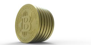 De uiterst gedetailleerde en realistische illustratie van hoge resolutie 3D Bitcoin Royalty-vrije Stock Afbeeldingen