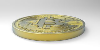 De uiterst gedetailleerde en realistische illustratie van hoge resolutie 3D Bitcoin Stock Foto's