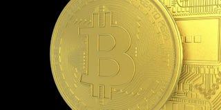 De uiterst gedetailleerde en realistische illustratie van hoge resolutie 3D Bitcoin Stock Afbeeldingen