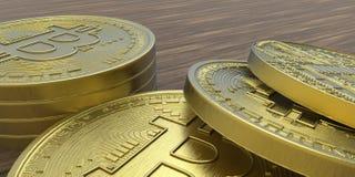 De uiterst gedetailleerde en realistische illustratie van hoge resolutie 3D Bitcoin Royalty-vrije Stock Fotografie