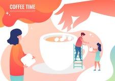 De uiterst kleine mensen maken koffie stock afbeelding