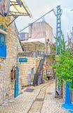De uiterst kleine straat in Safed royalty-vrije stock afbeelding