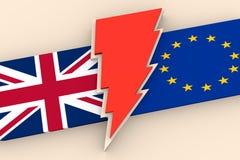 De uitgang van Groot-Brittannië van Europese Unie relatief beeld Stock Afbeelding