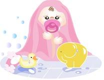 De uitgang van het meisje enkel van het bad Stock Foto's