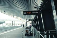 De uitgang van de luchthaven Pulkovo in de heilige-Petersburg-bouw van de luchthaven met signage en Bagagekarretjes en weg stock afbeeldingen