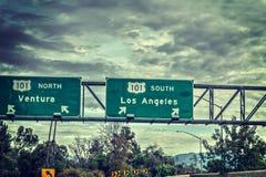 De uitgangsteken van Los Angeles in snelweg 101 Stock Foto's