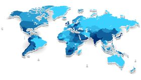 De uitgedreven kaart van de Wereld met landen Stock Afbeeldingen