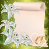 De uitnodiging of de groetkaart van het huwelijk met lelie Stock Afbeelding